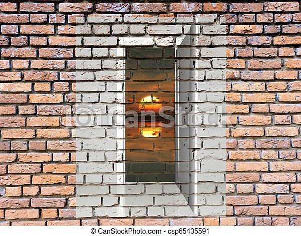 Door in the brick wall and sun - csp65435591