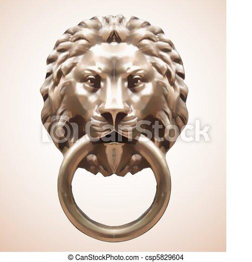 Door Knocker with lion. Vector - csp5829604