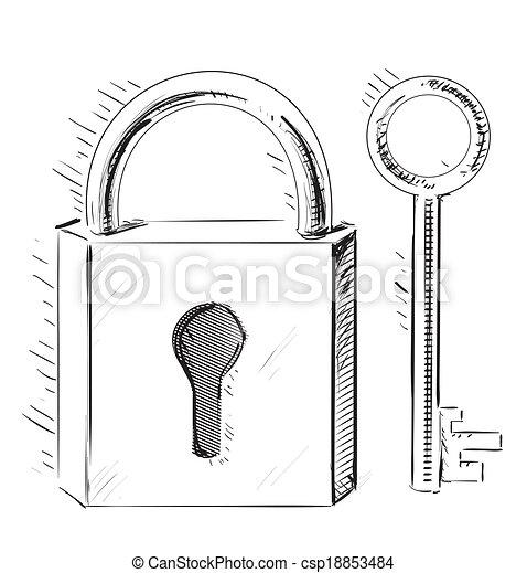 door lock and key cartoon. Door Lock And Key - Csp18853484 Cartoon V