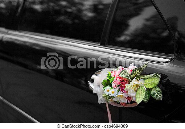 Door of black wedding car - csp4694009