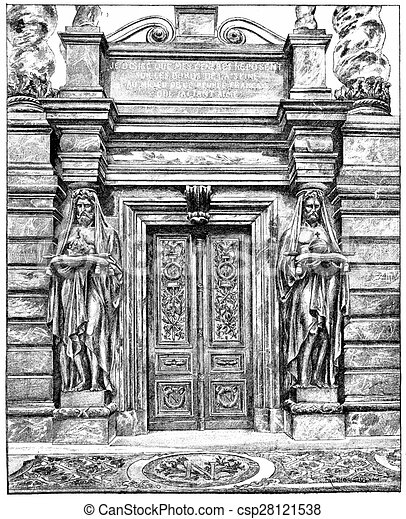 Door of the tomb of Napoleon 1st vintage engraving. - csp28121538  sc 1 st  Can Stock Photo & Door of the tomb of napoleon 1st vintage engraving. Door of ...