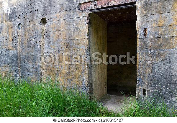 Door of WW2 bunker - csp10615427 & Door of ww2 bunker. Door of ww2 concrete bunker fortification.