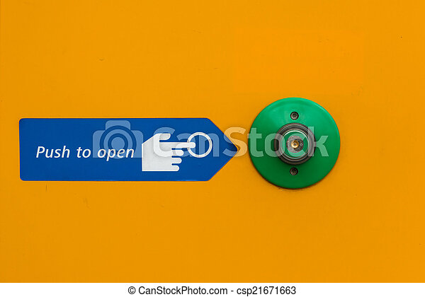 Door open push button in green with instructions to open - csp21671663