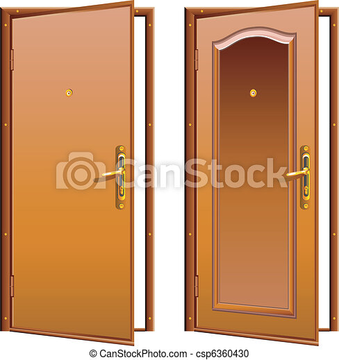 Door opened & opened and closed door for conceptual usage. vector clipart ... pezcame.com
