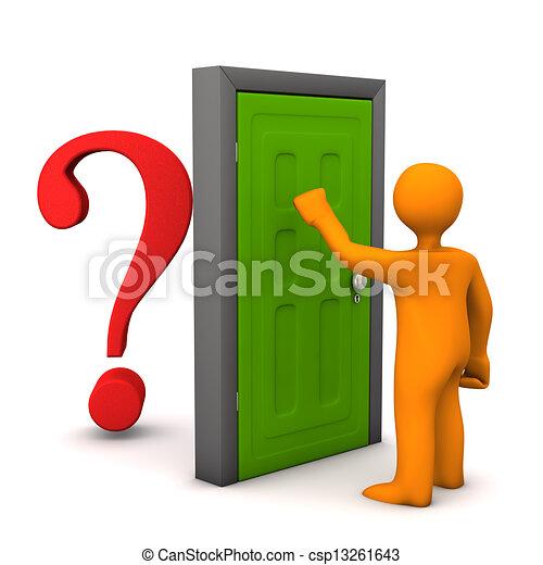 Door Question Orange Cartoon Character Knocks On The