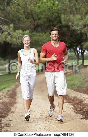 door, rennende , park, paar, jonge - csp7494126