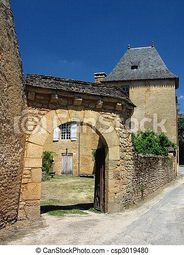 door, Saint Genies, Street, House, Village - csp3019480
