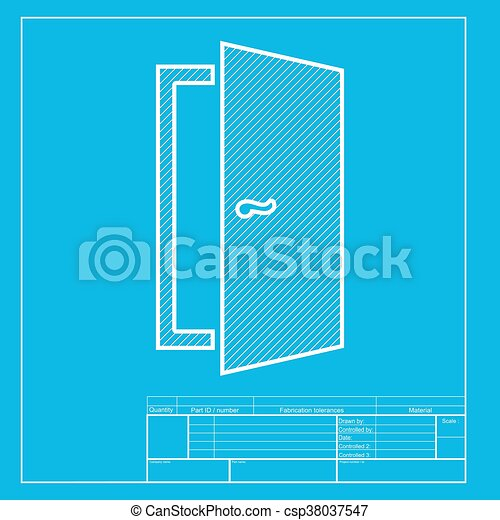 Door Sign Illustration White Section Of Icon On Blueprint Template