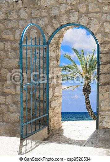 Door to seashore - csp9520534