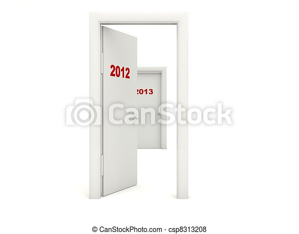 Door with 2012 New Year sign isolated on white - csp8313208