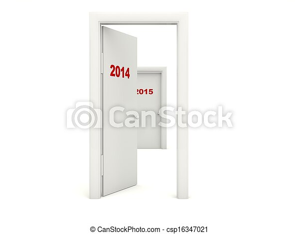 Door with 2014 New Year sign - csp16347021