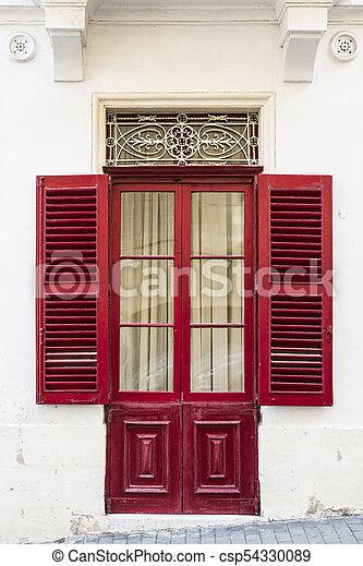 Door With Lattice And Shutters   Csp54330089