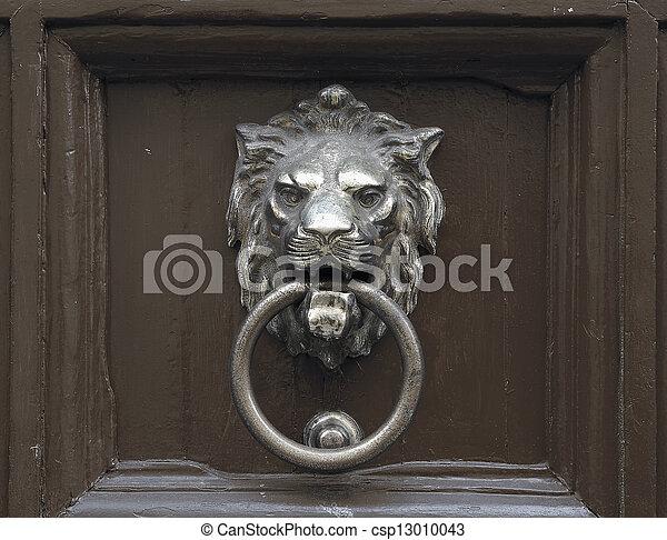 Door with lion door knocker - csp13010043