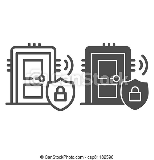 Door with secure lock on emblem line and solid icon, smart home symbol, house safe technology vector sign on white background, thief door protection icon in outline style. Vector graphics. - csp81182596