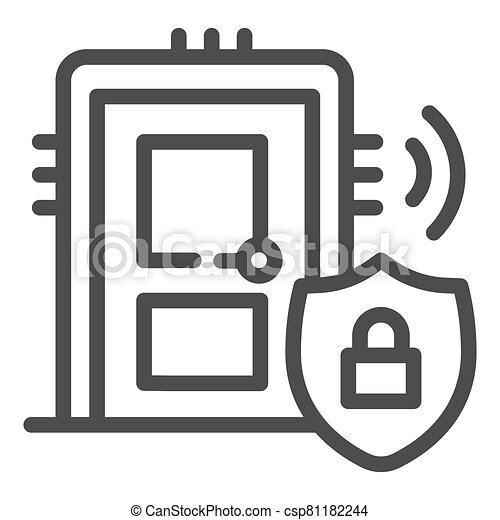 Door with secure lock on emblem line icon, smart home symbol, house safe technology vector sign on white background, thief door protection icon in outline style. Vector graphics. - csp81182244