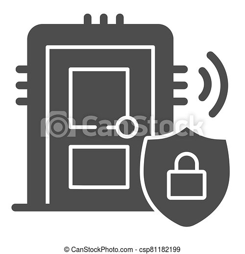 Door with secure lock on emblem solid icon, smart home symbol, house safe technology vector sign on white background, thief door protection icon in glyph style. Vector graphics. - csp81182199