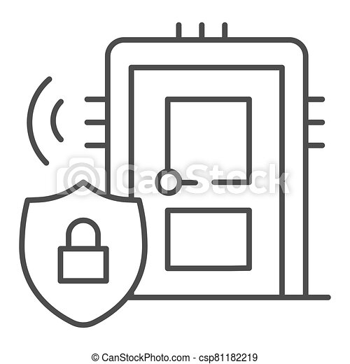 Door with secure lock on emblem thin line icon, smart home symbol, house safe technology vector sign on white background, thief door protection icon in outline style. Vector graphics. - csp81182219