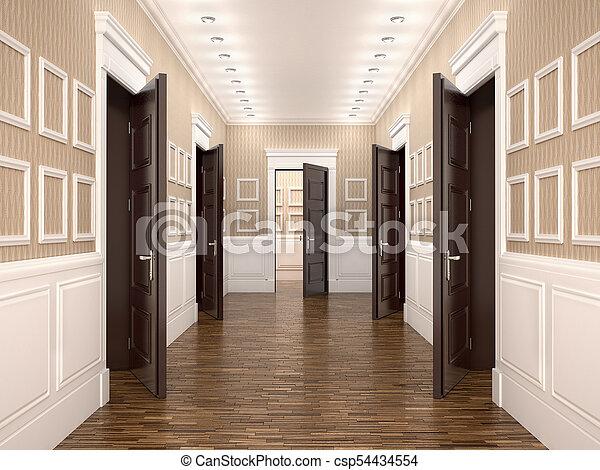 doors., 開いた, 廊下, イラスト, 3d - csp54434554