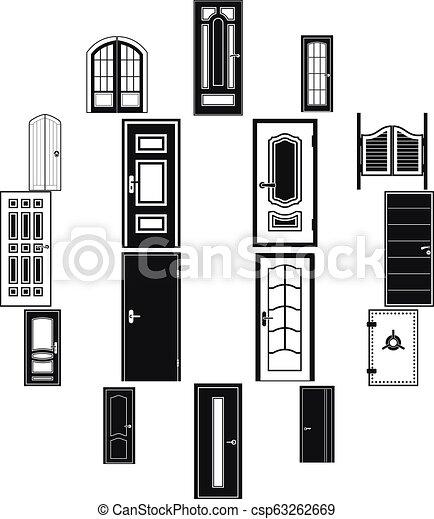 Doors icons set, simple style - csp63262669