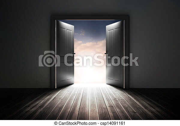 Doors opening to reveal beautiful sky - csp14091161
