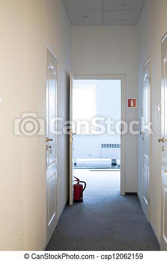 doors propped extinguisher - csp12062159 & Doors propped extinguisher. Doors propped fire extinguisher... stock ...