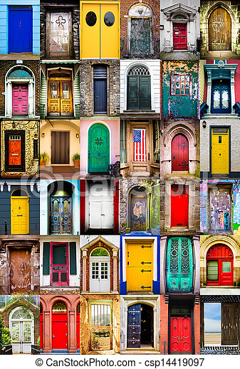 Doors Colorful Collage Of Variety Of Doors