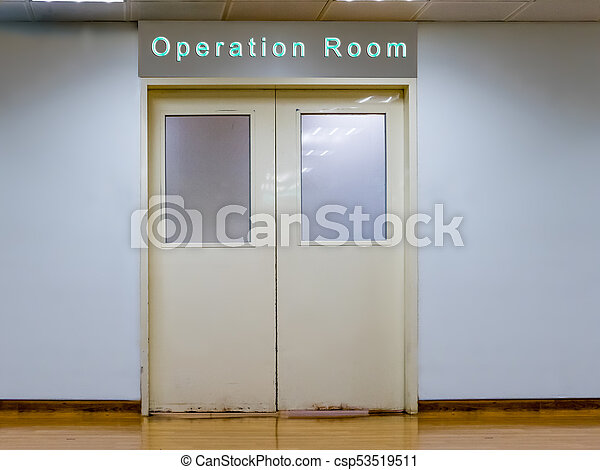 Doors to operation room at hospital - csp53519511