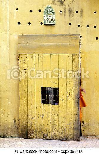 Doorway to Wat- Phnom Penh, Cambodia - csp2893460