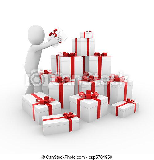 doosje, cadeau, menselijk, wit rood, 3d - csp5784959