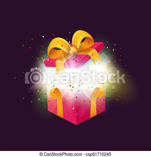 doosje, explosion., geopend, cadeau, present., kerstmis, jarig, confetti, verrassing, of - csp61710245