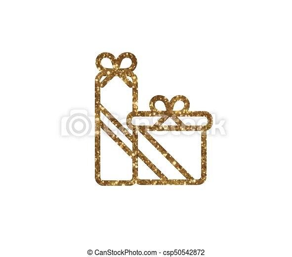 doosje, gouden, cadeau, vrijstaand, vakantie, schitteren, pictogram - csp50542872