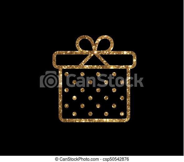 doosje, gouden, cadeau, vrijstaand, vakantie, schitteren, pictogram - csp50542876