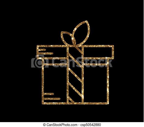 doosje, gouden, cadeau, vrijstaand, vakantie, schitteren, pictogram - csp50542880