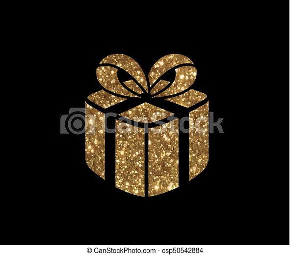 doosje, gouden, cadeau, vrijstaand, vakantie, schitteren, pictogram - csp50542884