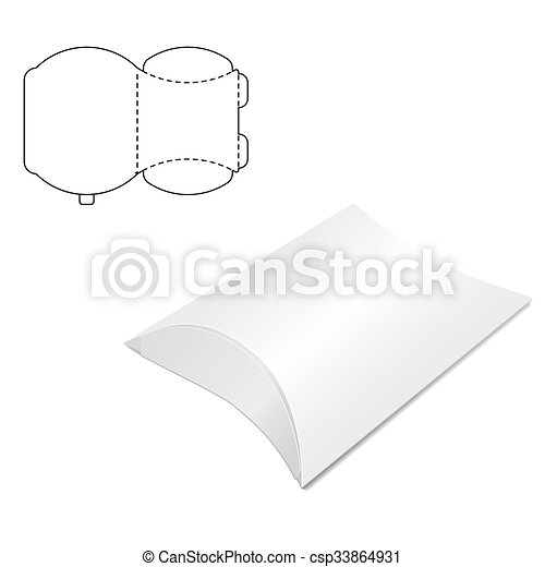 doosje, het vouwen, hoofdkussen. doosje, website, vector, het vouwen