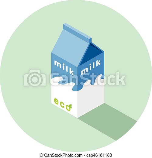 doosje, isometric, eco, illustratie, vector, melk - csp46181168