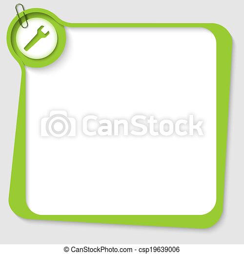 doosje, klem, tekst, papier, groene, leeg, moersleutel - csp19639006