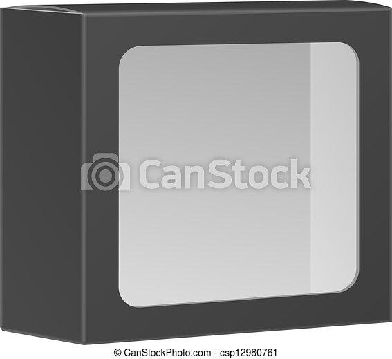 doosje, product, verpakken, vrijstaand, black , venster., achtergrond, leeg, vector, witte  - csp12980761