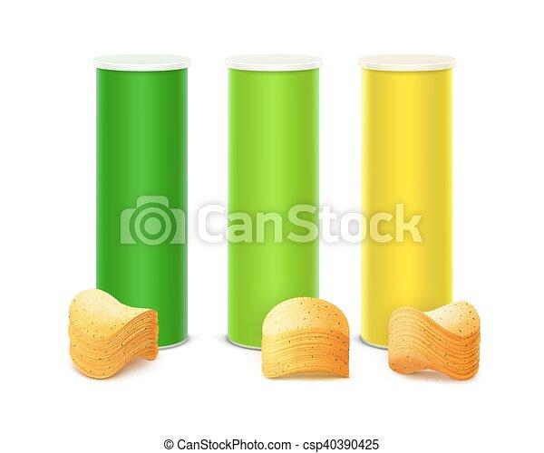 doosje, set, gekleurde, vrijstaand, frites, stapel - csp40390425