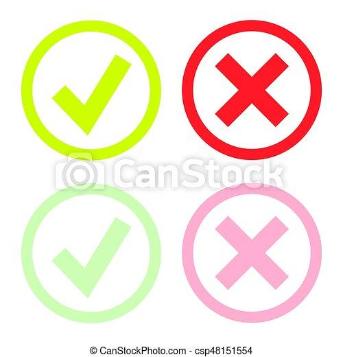 doosje, set, iconen, of, mark, groene, lijn, controleren - csp48151554