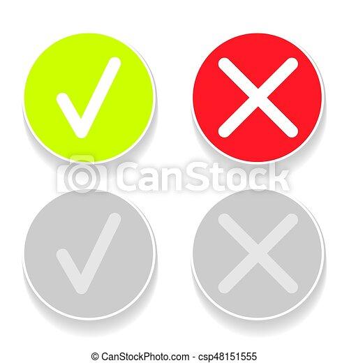 doosje, set, iconen, of, mark, groene, lijn, controleren - csp48151555