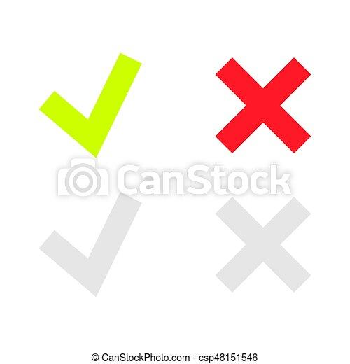 doosje, set, iconen, of, mark, groene, lijn, controleren - csp48151546