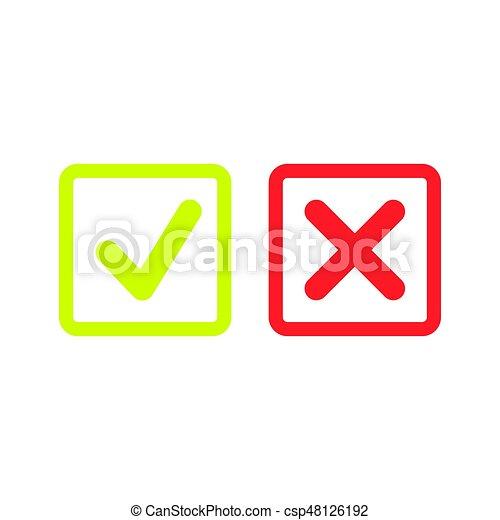 doosje, set, iconen, of, mark, groene, lijn, controleren - csp48126192