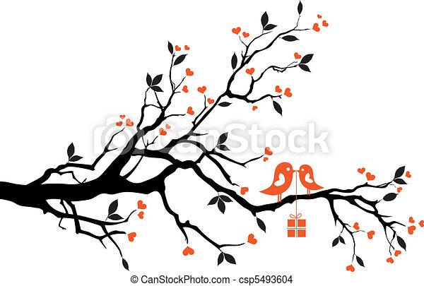 doosje, vector, liefdevogels, cadeau - csp5493604