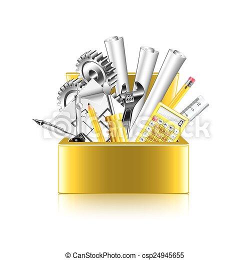 doosje, vrijstaand, vector, witte , gereedschap, ingenieur - csp24945655