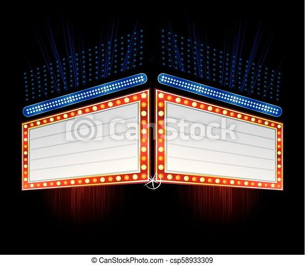 doppelgänger, neon, seite, zeichen - csp58933309