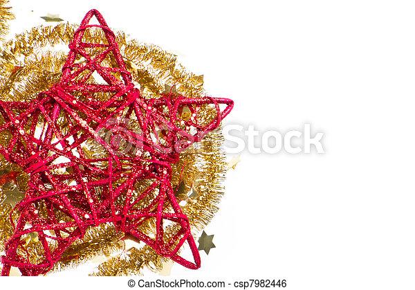 doré, étoile, clinquant, rouges, noël - csp7982446