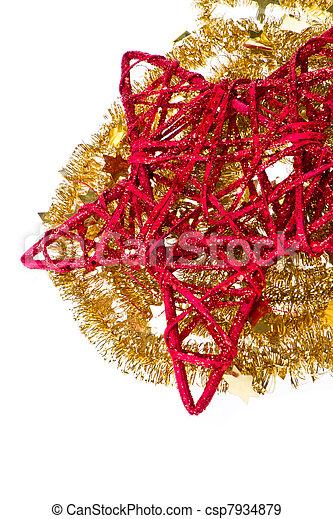 doré, étoile, clinquant, rouges, noël - csp7934879