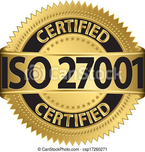 doré, 27001, étiquette, v, iso, certifié - csp17260271