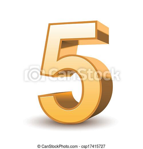 doré, 3d, 5, brillant, nombre - csp17415727